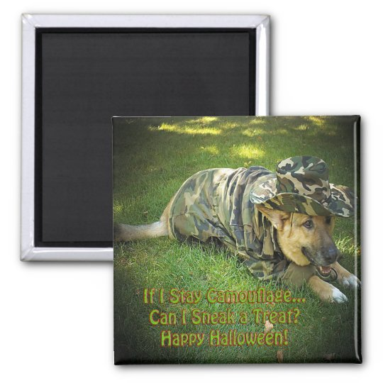 Halloween Dog in Camouflage Magnet