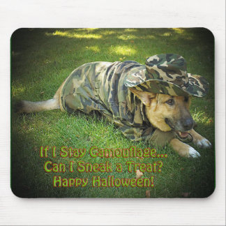 Halloween Dog in Camouflage Mouse Pads