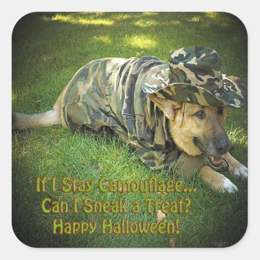 Halloween Dog in Camouflage Sticker