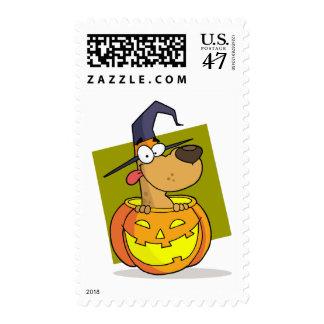 Halloween Dog in the Pumpkin Postage Stamp