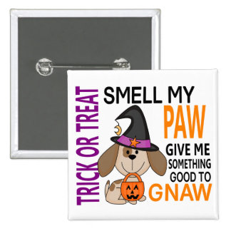 Halloween Dog Smell My Paw 2 2 Inch Square Button
