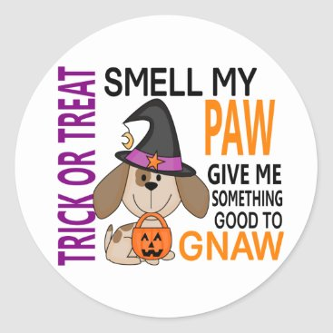 Halloween Themed Halloween Dog Smell My Paw 2 Classic Round Sticker