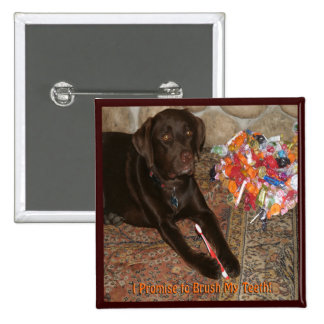 Halloween Dog with Sweet Tooth Pinback Button