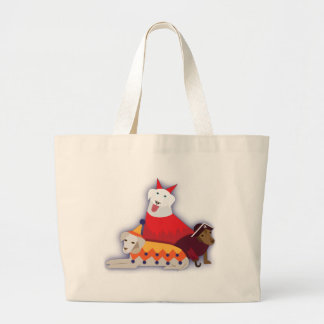 Halloween dogs large tote bag