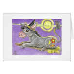 Halloween Donkey Witch and Flying Broom Greeting Card