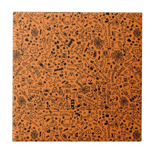 Halloween Doodles Orange Tile
