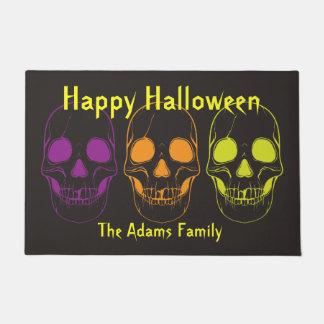 Halloween Doormat w/ Colorful Skulls, Personalize
