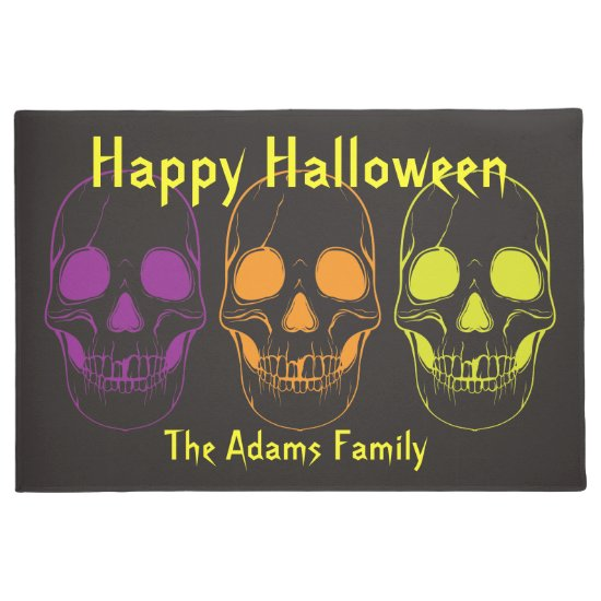 Halloween Doormat w/ Colorful Skulls, Personalize