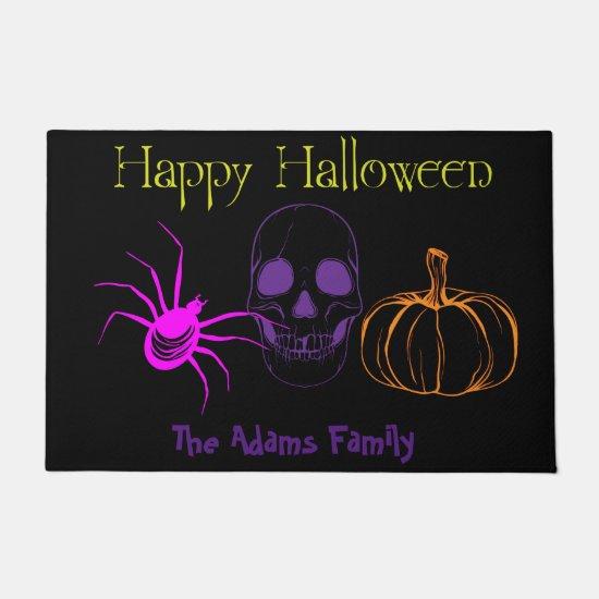 Halloween Doormat w/Spider, Skull & Pumpkina