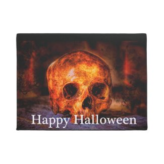 Halloween Doormat with Skull Art