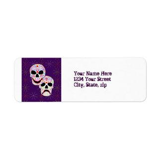 Halloween DOTD Comedy-Tragedy Skulls address label