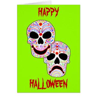 Halloween DOTD Comedy-Tragedy Skulls Greeting Card