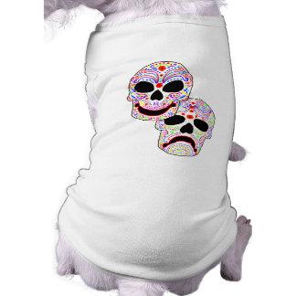 Halloween DOTD Comedy-Tragedy Skulls Doggie Tee