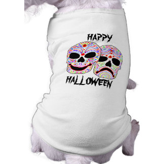 Halloween DOTD Comedy-Tragedy Skulls Doggie Tshirt