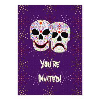 Halloween DOTD Comedy-Tragedy Skulls 5x7 Paper Invitation Card