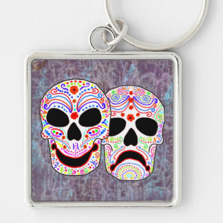 Halloween DOTD Comedy-Tragedy Skulls Keychain