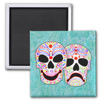Halloween DOTD Comedy-Tragedy Skulls 2 Inch Square Magnet