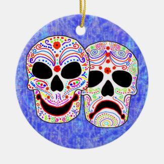 Halloween DOTD Comedy-Tragedy Skulls Double-Sided Ceramic Round Christmas Ornament