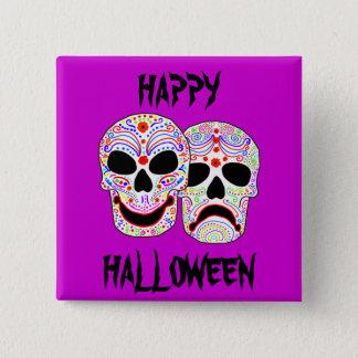 Halloween DOTD Comedy-Tragedy Skulls Pinback Button
