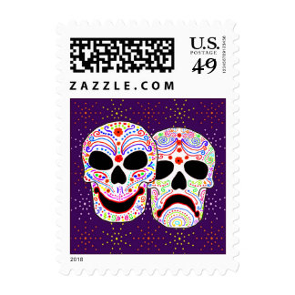 Halloween DOTD Comedy-Tragedy Skulls Stamp