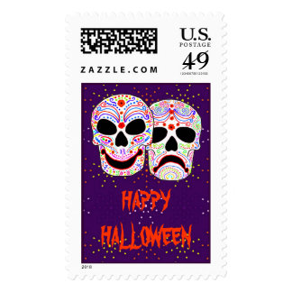 Halloween DOTD Comedy-Tragedy Skulls Postage Stamps