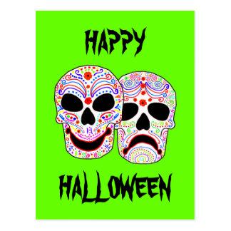 Halloween DOTD Comedy-Tragedy Skulls Postcard