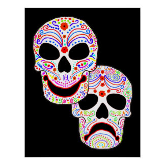 Halloween DOTD Comedy-Tragedy Skulls Poster