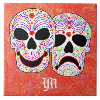 Halloween DOTD Comedy-Tragedy Skulls tile