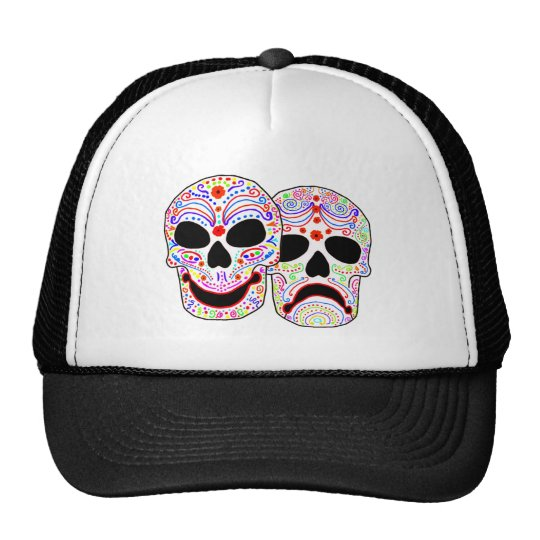 Halloween DOTD Comedy-Tragedy Skulls Trucker Hat