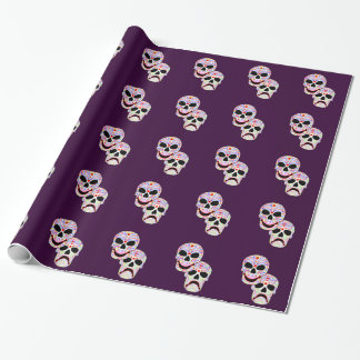Halloween DOTD Comedy-Tragedy Skulls Wrapping Paper