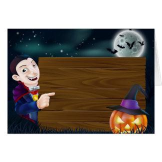 Halloween Dracula wooden sign Greeting Card