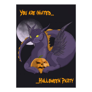 Halloween Dragon and Moon Personalised Announcement