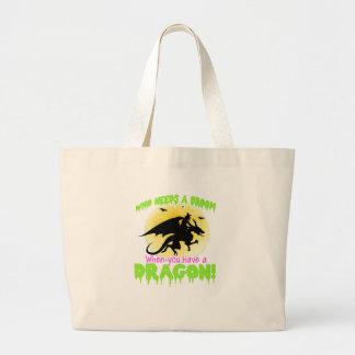 Halloween dragon tee large tote bag