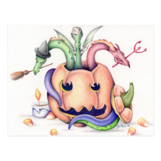 Halloween Dragons Post Card