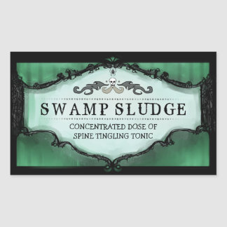 Halloween Drink or Treat Labels Large - Green Rectangular Sticker