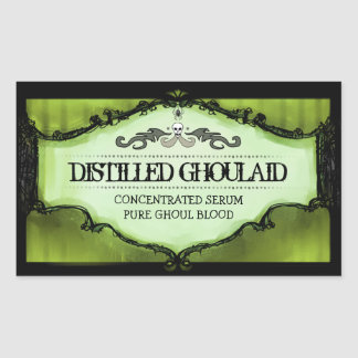 Halloween Drink or Treat Labels Large - Lime Green Rectangular Sticker