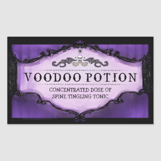 Halloween Drink or Treat Labels Large - Purple Rectangular Sticker