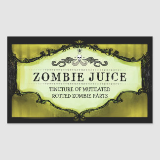Halloween Drink or Treat Labels Large Yellow Rectangular Sticker