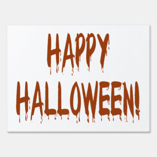 Halloween Dripping Blood Text Sign