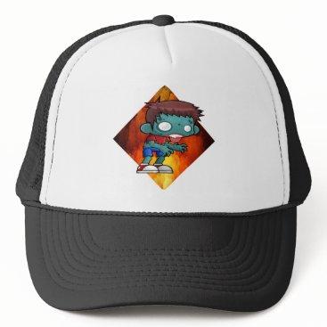 Halloween Themed Halloween drooling zombie trucker hat