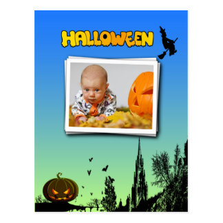 Halloween Dusk with Witch Add Photo Frame Postcard