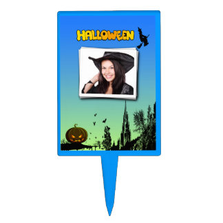 Halloween Dusk with Witch Add Photo Frame Topper