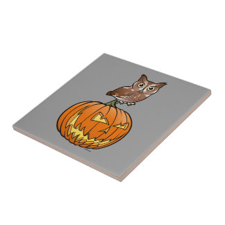 Halloween Eastern Screech Owl Tile