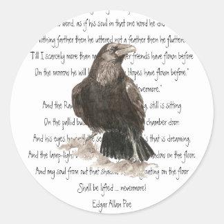 Halloween, Edgar Allen Poe, cuervo, nunca más Pegatina Redonda