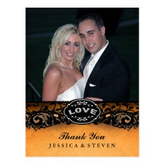 Halloween Elegant Lace LOVE Photo Thank You Card