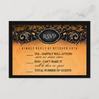 Halloween Elegant Orange Black 3.5x5 Wedding RSVP