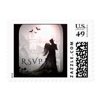 Halloween Elegant RSVP Silhouette Wedding Postage