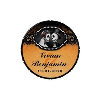 Halloween Elegant Skeletons Orange & Black Names
