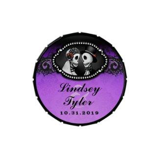 Halloween Elegant Skeletons Purple & Black Names