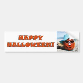 Halloween en la playa etiqueta de parachoque